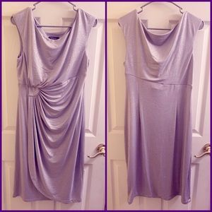 Shimmery, silver mid-length formal dress